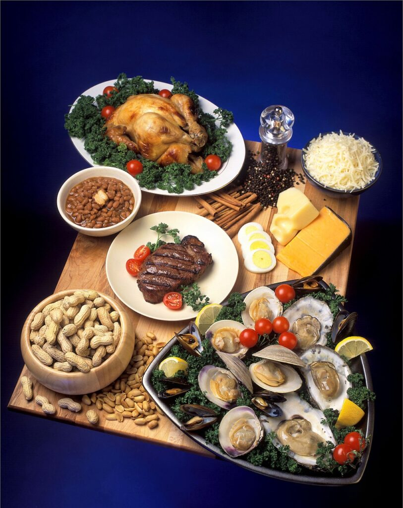 Meat, cheese, eggs, oysters, and nuts are great sources of zinc.